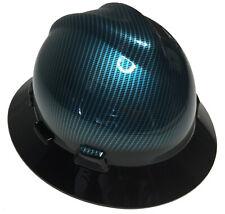 Dipped Msa Full Brim Vguard Hard Hat Light Blue Kandy Carbon Fiber Withblack Brim