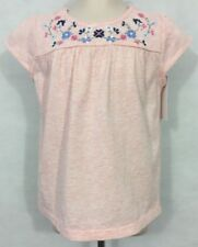 NWT  baby B'Gosh 3T Girl's Pink 100% Cotton Short Sleeve Floral Embroidered Top