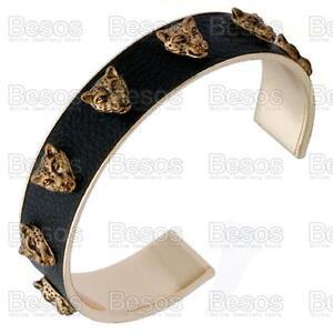 STUDDED LEOPARD HEAD BANGLE BRACELET gold fashion BLACK PU LEATHER uk GIFT BAG