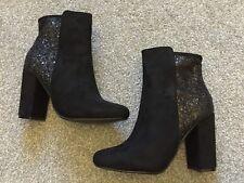 NUOVO CON SCATOLA DONNA DIVINE Glitter Tacco a Blocco Nero Sock Stivaletti UK 8 41 RRP £ 39.99