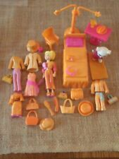 """Polly Pocket Lot """"Colors of the Rainbow"""" Orange Doll Clothes Furniture Pet X4"""