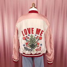 Love Me Forever Or Never Roses Dusty Pink Satin Bomber Jacket O Ring Size 8-10
