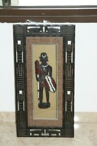 Wall Hanging Hand Carved Painted African Warrior Wooden Figurine w/ Glass & Fram
