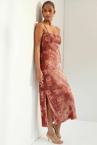 New Anthropologie Velvet Slip Maxi Dress by Hutch Pink size PM MP $190 NWT