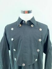 Scully Mens Bib Front Shirt Black Long Sleeve Cotton Military Western L New