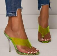 Summer Ladies Perspex Thongs Sandals Womens High Clear Heels Casual Mules Shoes