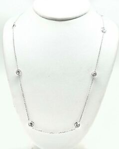 WHITE ZIRCON 5.76 Cts NECKLACE 14k White Gold  *New W/Tag & FREE Shipping