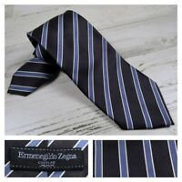 Ermenegildo Zegna Couture XXX Silk Neck Tie Blue Striped Necktie Luxury Italy