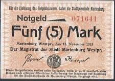 Germany Notgeld MARIENBURG 5 MARKS 1918 aUNC