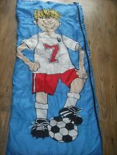 SLUMBALUX FOOTBALL MAD BLUE CHILDS SLEEPING BAG & FLAT PILLOW 150cm x 69cm