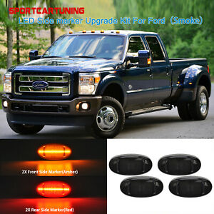 For 2011-2018 Ford F250 F350 F450 Amber/Red LED Fender Side Marker Lights Smoked