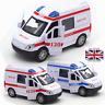 Hospital Ambulance Alloy Diecast Police Car Model Pull Back Sound Light Toys