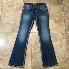 SILVER Suki Flap Distressed Thick Stitch Jeans Size 4P / R (26x29)  C398
