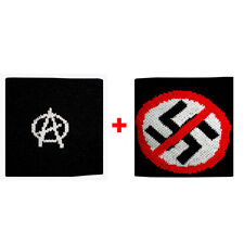 Couple ribbed cuffs anarchy + ban sponge groups rock and flags