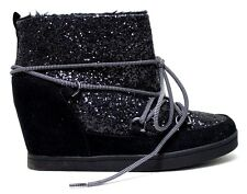 Juicy Couture Ankle Sport Boot Mareen Glitter Lace Up Wedge Women Size 10 Medium
