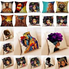 "Fashion African Tribal Girl Women Cushion Covers Linen Throw Pillow Case 18"""