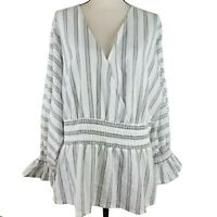 INC International Concepts Top Womens Size 3X Black White Stripe Long Sleeve