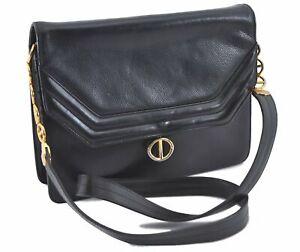 Authentic Christian Dior Shoulder Cross Body Bag Leather Black D9946