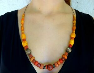 A Vintage Chinese Minority Style Necklace Coral Silver Amber Beads