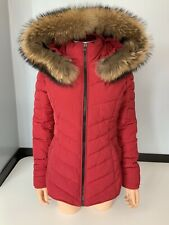 Froccella Red Padded Jacket Coat Size Size 44 Uk 8 / 10 Women's Large Fur Hood