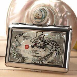 Mother of Pearl Black Dragon Metal Cigarette Tobacco Holder Case Storage Wallet