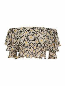 WHISTLES Ladies Adela Floral Print Silk Crop Top Bardot White UK8 BNWT RRP159