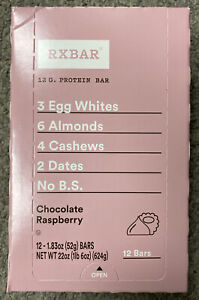 RXBAR Chocolate Raspberry, Breakfast Bar, High Protein Snack ~ BOX of 12 Bars