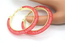 Gold Plated Stardust Hoop Earrings Filled with Crystals Various Colours