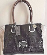 NWT GUESS Clarksville Large Tawny Satchel BLACK / White