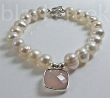 925 Sterling Silver  7 inches Stretch_~Freshwater Pearl~ Chalcedony~ Bracelet