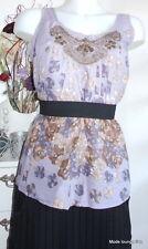NOA NOA Bluse blouse Osbourne Viskose XL 42 scent lila Steine Stickereien