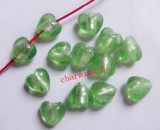 6pz  vetro perline cuore in murano lampwork 12x12mm colore  verde