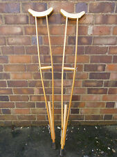 Vintage NATO Wooden Crutches Adjustable Army First Aid Medic Field Support