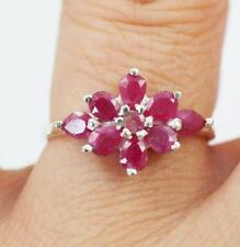 Unusual Solid 925 Sterling Silver Red Ruby Ring jewellery  P1/2,  8
