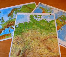 Sparset 3x Poster Deutschland + Europa + Welt Landkarte phys. + politisch A2 Map