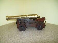 Vintage Wood & Cast Brass Model Cannon