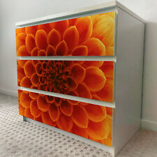 IKEA 3 DRAWERS MALM Orange Flower Macro Removable Textile Sticker for furniture