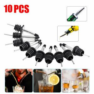 10Pcs Liquor Spirit Pourer Flow Wine Bottle Pour Spout Stopper Steel F