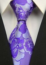 GIFTS FOR MEN Classic Paisley Floral Mens Silk Formal Necktie Work Tie Purple