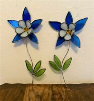 Pair of 2 Vintage Stained Glass Decor Suncatchers Flowers - 12""