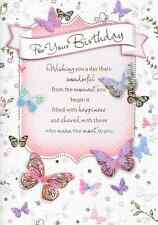 FOR YOUR  BIRTHDAY CARD TOP QUALITY,BUTTERFLIES,PINK,LARGE CARD(K1).