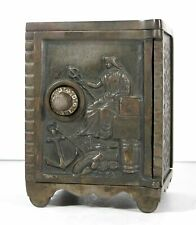 1890 LARGE CAST IRON FLOOR SAFE FIGURAL STILL BANK / BANK OF COMMERCE By KENTON