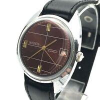 Vintage Mechanical Date Watch VOSTOK Burgundy Stripes USSR Rare SERVICED Export
