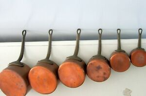 """6 SOLID COPPER ASCENDING SIZE POTS PANS WITH BRASS HANDLES from 2.75""""  to 6.25"""""""