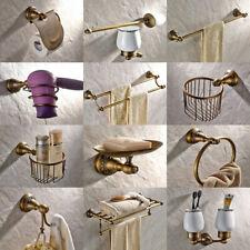 Antique Brass Carved Flower Bathroom Accessories Set Hardware Towel Bar fset010