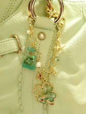 Handcraft Bag Accessory Green Clover/Perfume Bottle Motif Gemstone/Swarovski JPN