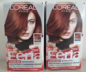 Feria Hair Color, L'Oreal Paris, R68 Rich Auburn 2 BOX Lot  I