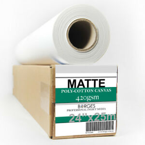 """INKJET PRINTING CANVAS, MATTE POLY-COTTON 420gsm 24""""x25m roll"""