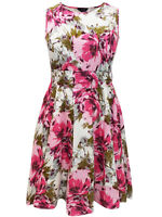 Yours ladies dress plus size 18-32 pink floral belted cotton occasion fit flare