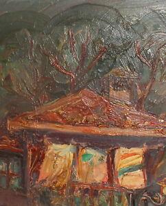Vintage expressionist oil painting landscape house